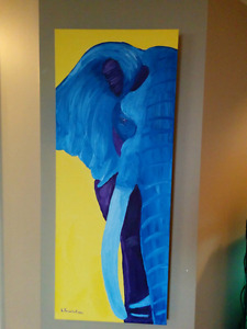 16x48 original oil painting colourful elephant