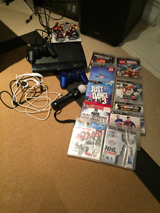 Sony Playstation 3 Slim w/ 2 Controllers + Sony Move + 10 Games