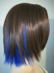 NEW W TAGS: Deluxe Brown Wig w Electric Blue Peekaboo Highlights