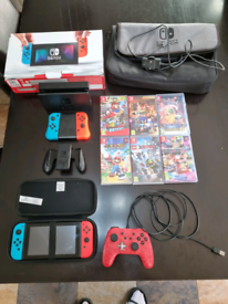 Nintendo switch, 2 extra controllers, mario, quick sale, console