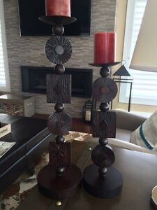 Wooden candle holders $35