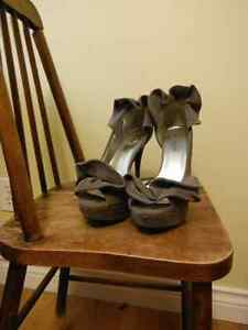 grey, ruffled stilletos with slight platform