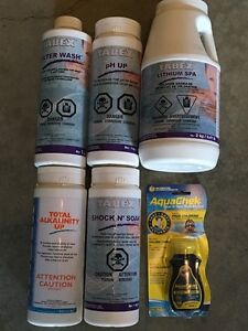 Hot tub chemicals and test strips
