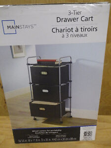 Mainstays 3-Tier Drawer Cart, Grey (new in box)