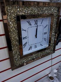CRUSHED CRYSTAL GOLD SQUARE BIG CLOCK