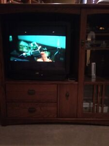 Solid Oak Entertainment Center-REDUCED PRICE!!!