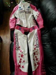 Womans Pink and White Icon Moto leather Jacket and Chaps