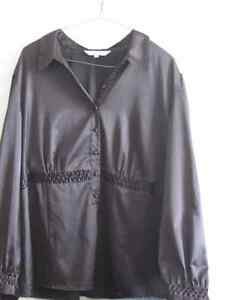 Shiny Black Blouse XL by AE City. Excellent Used Condition. Cornwall Ontario image 2