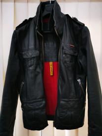 **STUNNING** Men's Superdry Leather Jacket - Black