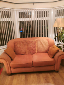 Terracotta 2 seater sofa and armchair