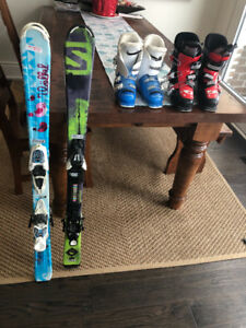 Kids Volkl and Solomon Skis  and Boots - Ski size 110