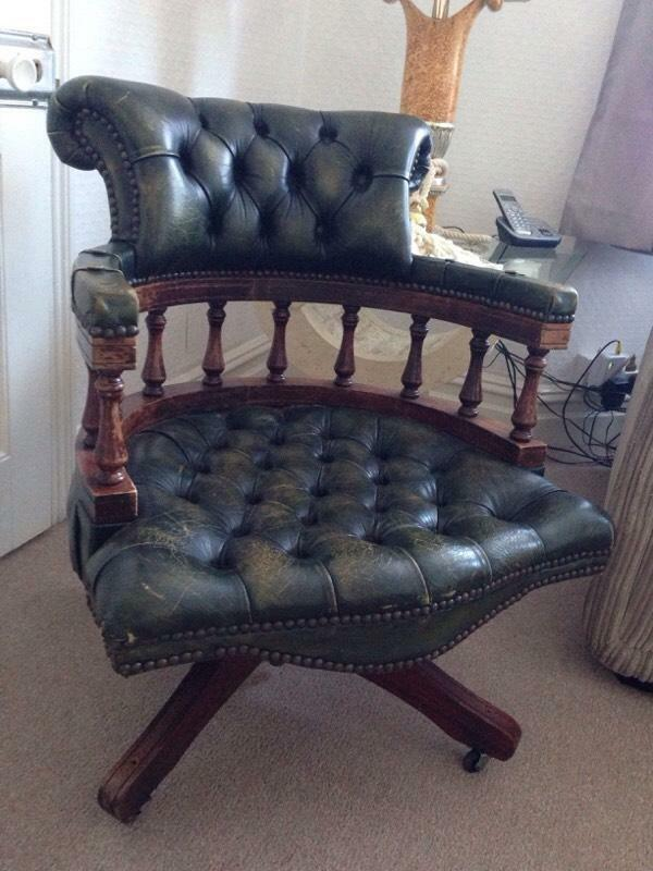 captains green leather office chair in bournemouth dorset gumtree