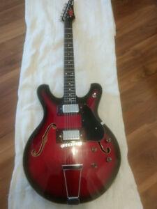 Guitare Ibanez électrique vintage hollow body modèle viking 1970