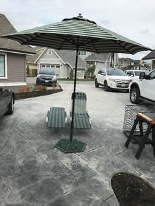 PATIO UMBRELLA & STAND  and  2 lay down loungers