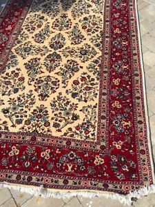 528: Tabitha Cream Red and Blue Sarouk Persian Hand-Knotted Rug