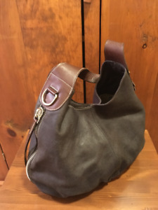 Roots Large Grey Distressed Leather Brown Accents Hobo Purse Bag