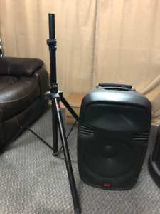 Portable battery operated sound speaker system with tripod stand