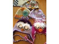 Hand crocheted baby hats