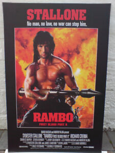 Rambo 2  Movie Poster Hard Mounted on a Plak it  Retro 1980's