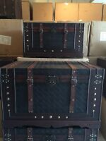 2 wooden treasure chests/boxes/ storage and coffee table