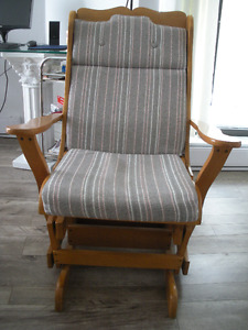 Maple Glider/Rocker with Striped Upholstered Cushions