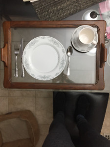 wooden & glass serving tray $20