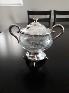 Silver Plate  & Crystal Candy Dish with Lid