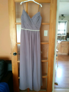 Lavender ribbed prom or bridesmaid dress