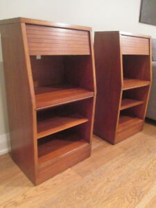 2 Tall MCM Cherry Wood Night Tables by Heritage Hendredon