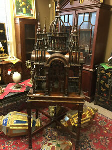 """Hand carved bird cage in solid mahogany """"Hagia Sophia"""" style"""