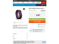 Fitbit charge HR in colour plum