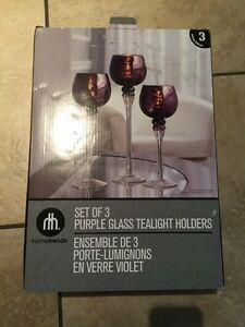 Set of 3 purple glass tealight holders