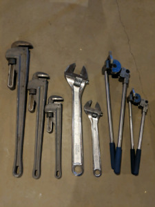 Tubing benders, pipe wrenches, cresents