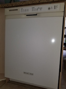 DISHWASHER, KITCHEN AID FRIDGE, STOVE, KITCHEN RANGE HOOD.