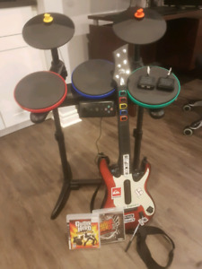 Guitar Hero Drum kit, Guitar and Games (USB dongles included)