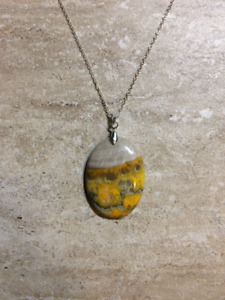 Genuine Bumble Bee Jasper Necklace (.925 silver) Handcrafted