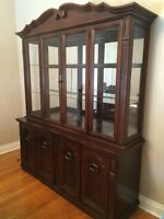 China cabinet and 7 piece wood dining set