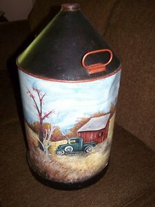 vintage oil can folk art painting
