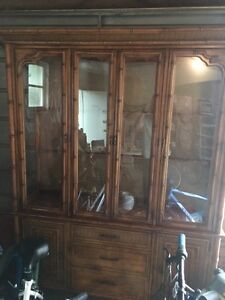 Reduced Price: Beautiful Solid Exotic Wood Display Hutch
