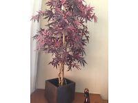 2 fake indoor /outdoor plants with pots