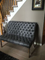 Beautiful grey leather tufted bench, wooden legs. excellent cond