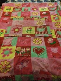 Peppa cot quilt with quilt cover and pillow case