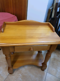 Side Table Solid heavy Pine with drawer & a shelf H62cm L63cm 36cm
