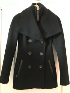 Mackage Wool and Cashmere Coat with Leather detailing size XXS