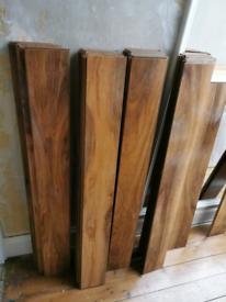 Glossy wooden flooring. 36 planks 120cm x 14cm x 1cm thick