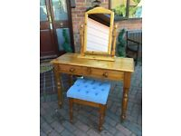 SOLID PINE DRESSING TABLE, STOOL AND MIRROR