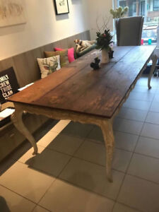 """ANTIQUE FRENCH FARMHOUSE TABLE AND """"HEAD OF THE TABLE"""" CHAIRS"""