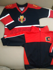 Calgary Flames track jacket (12M) and jersey (18M)