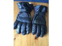 Men's leather motorbike gloves size large