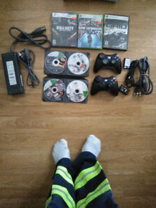 xbox 360 + games + controllers